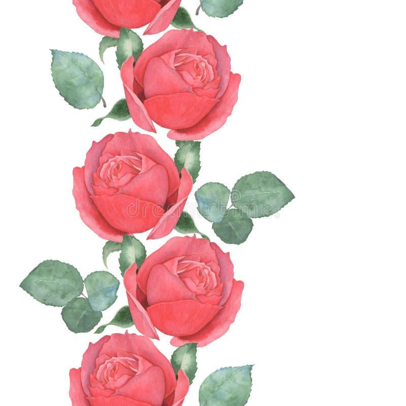Sömlös gräns av röda rosor för flygillustration för näbb dekorativ bild dess paper stycksvalavattenfärg hand-teckning vektor illustrationer