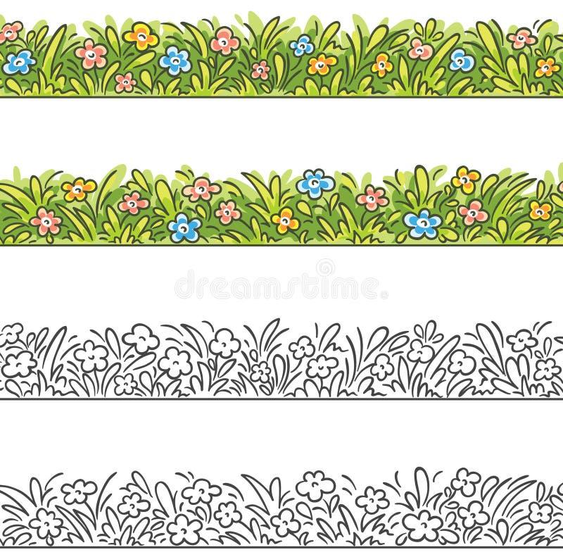 Sömlös gräns av tecknad filmgräs och blommor royaltyfri illustrationer