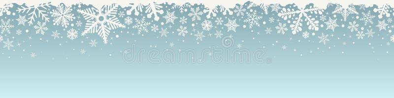 Sömlös gräns för abstrakt julöverkantsnöflinga stock illustrationer