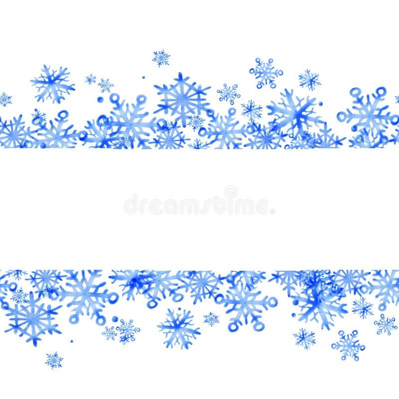 Sömlös gräns för härlig vinter av snöflingor Ideal för inbjudningar, vykort, affischer för flygillustration för näbb dekorativ bi royaltyfri illustrationer