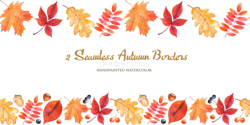 sömlös gräns för 2 vattenfärg med höstsidor, bär, muttrar, ekollonar stock illustrationer