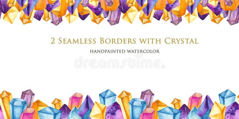 Sömlös gräns för vattenfärg med kulöra kristaller vektor illustrationer