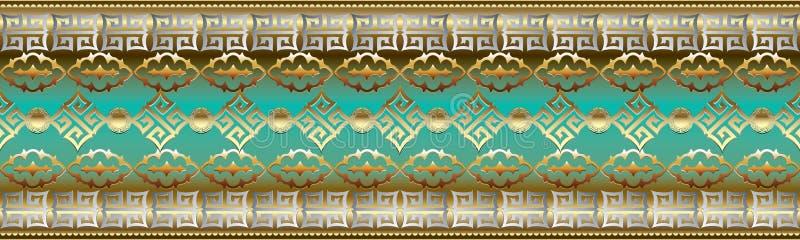 Sömlös gräns för vektor Barock repetitionmodell Modernt geometriskt stock illustrationer
