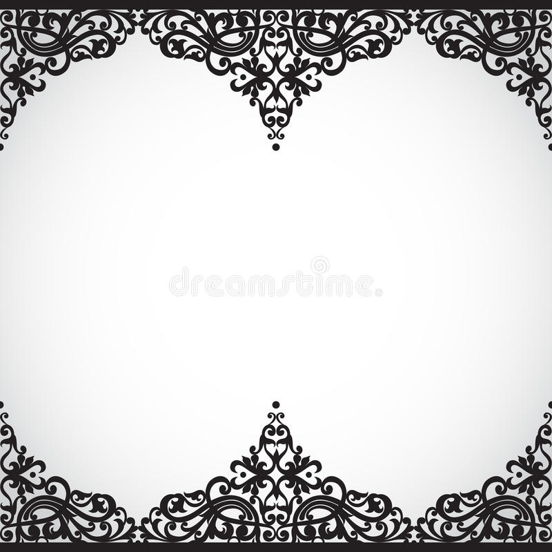 Sömlös gräns för vektor i viktoriansk stil. stock illustrationer