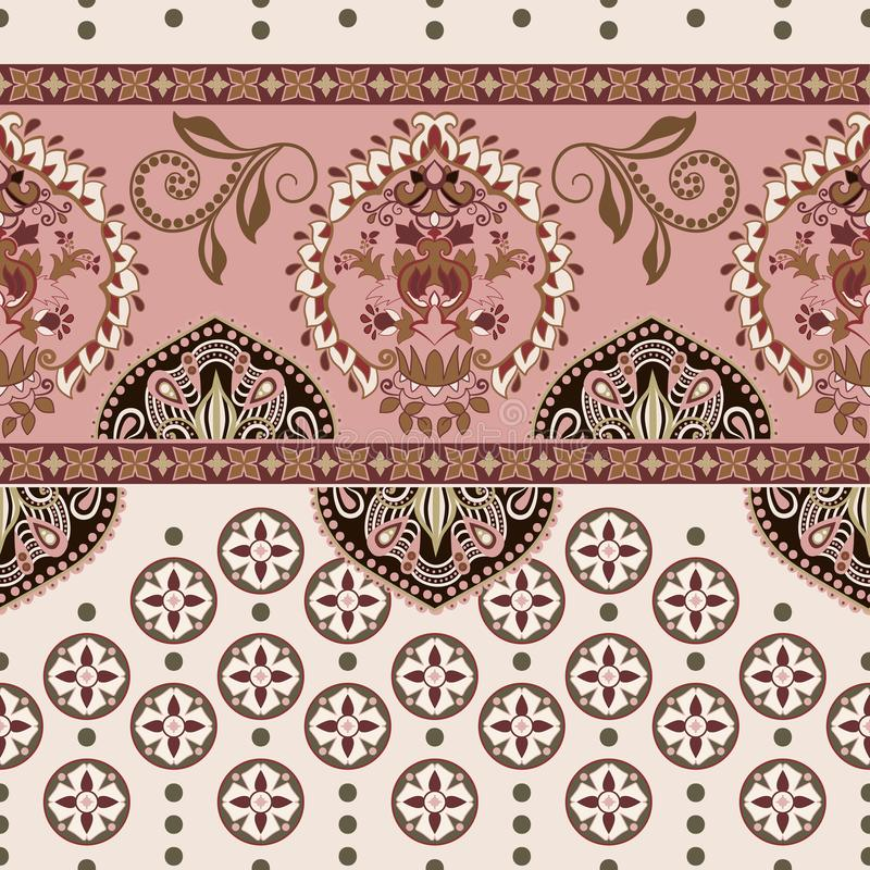 Sömlös gräns för vektor med dekorativa etniska beståndsdelar moroccan stil royaltyfri illustrationer