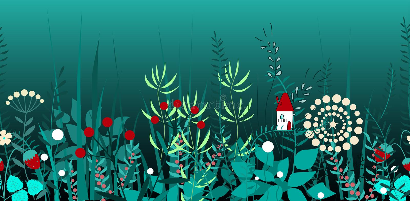 Sömlös gräns för vektor med skogväxter och felikt hus Bakgrund för ramar, dekorativ tejp, böcker, ungar stock illustrationer