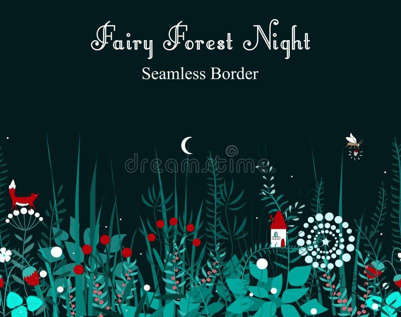 Sömlös gräns för vektor med skogväxter och felikt hus Bakgrund för ramar, dekorativ tejp, böcker, ungar vektor illustrationer