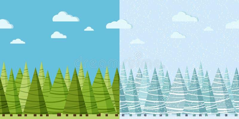 Sömlös gräns för vektorsommar- och vinternatur för designmall stock illustrationer