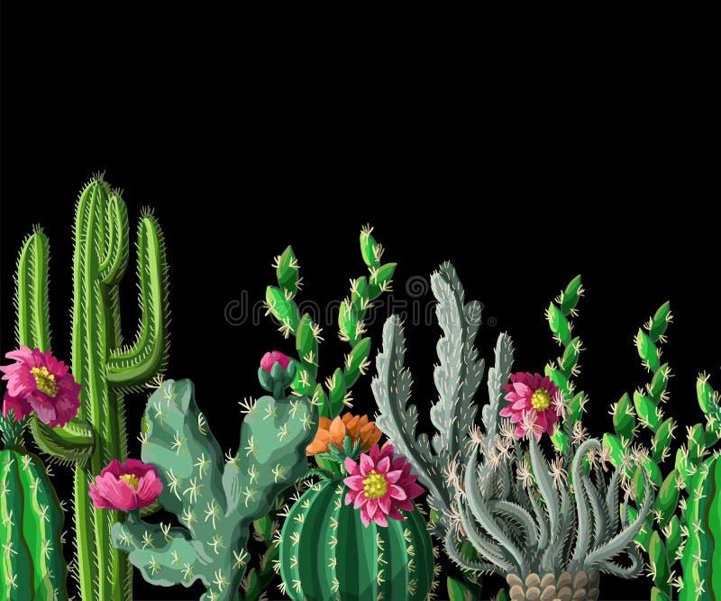 Sömlös gräns med kaktuns och blommor på mörk bakgrund också vektor för coreldrawillustration vektor illustrationer