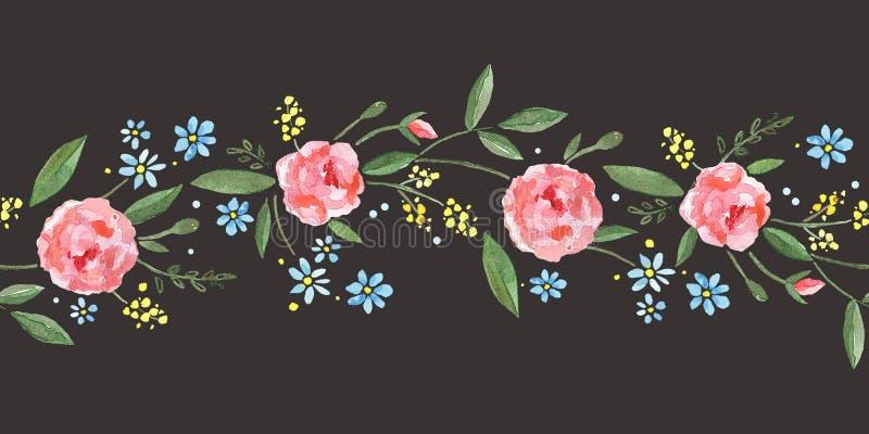 Sömlös gräns med vattenfärgrosor, sidor, filialer och små blåa blommor vektor illustrationer
