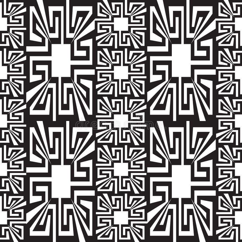 Sömlös gränsmodell för geometrisk svartvit grekisk vektor Dekorativ abstrakt monokrom bakgrund idérik design royaltyfri illustrationer