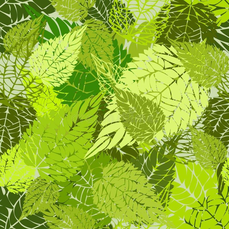 Sömlös gräsplan lämnar bakgrund royaltyfri illustrationer