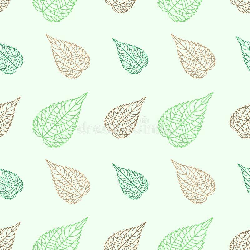 Sömlös gräsplan lämnar mosaikbakgrund vektor illustrationer