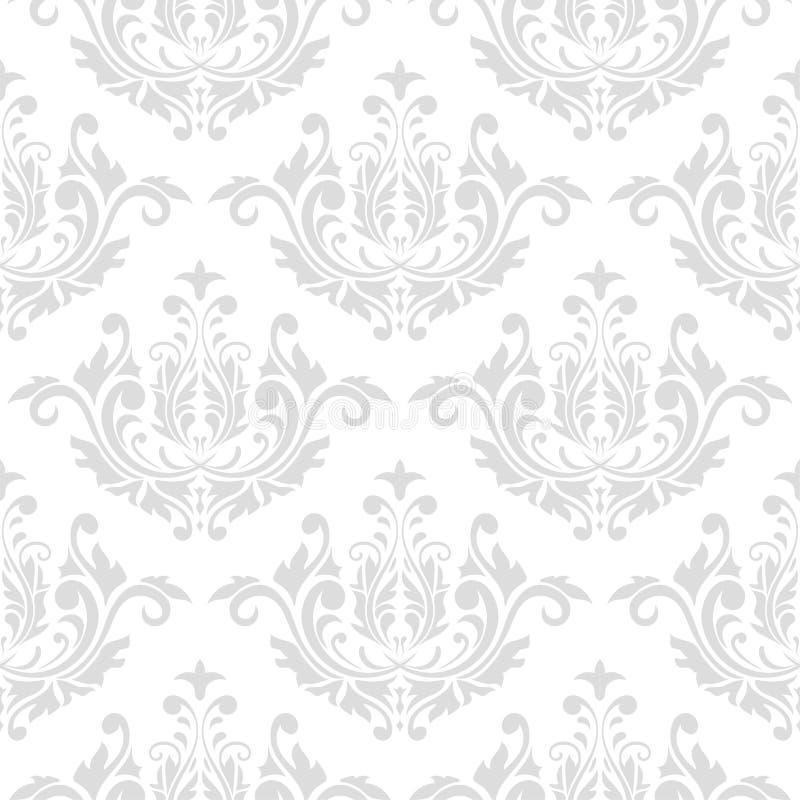 Sömlös grå färg- och vitmodell med tapetprydnader royaltyfri illustrationer