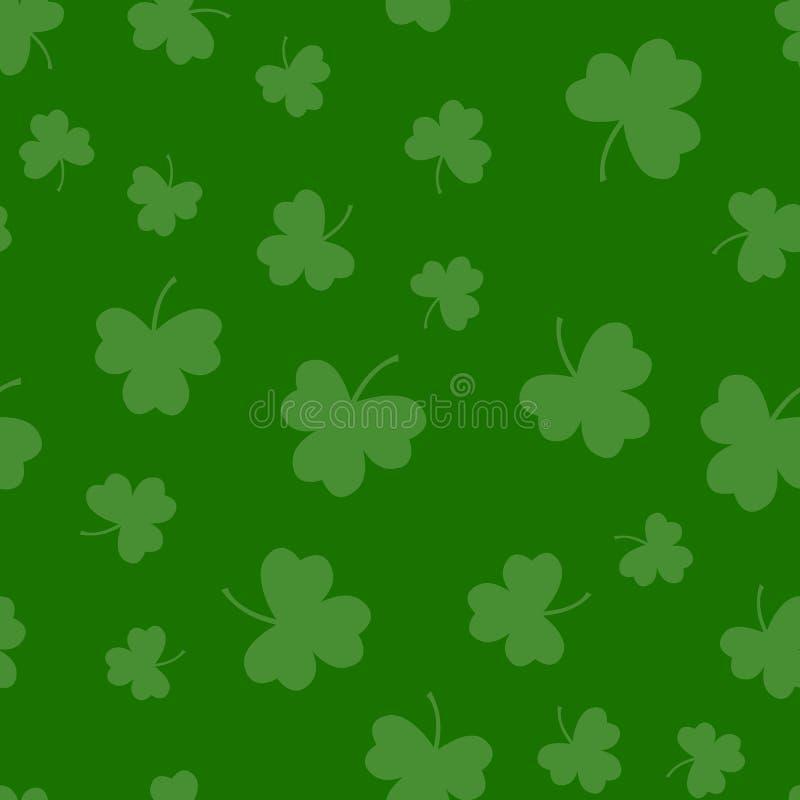 Sömlös grön bakgrund för modell för treklöverväxt av släktet Trifoliumblad dagpatrick s saint Abstrakt och modernt begrepp Geomet vektor illustrationer