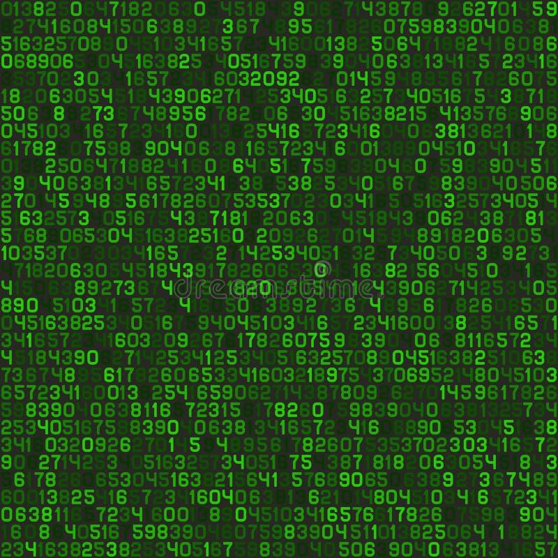 Sömlös grön decimal- tapet för bakgrund för datorkod vektor royaltyfri illustrationer