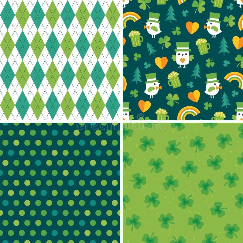 Sömlös grön irländsk bakgrundsuppsättning 4 stock illustrationer