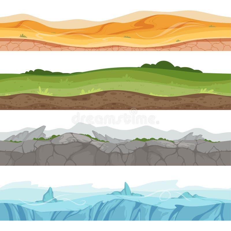 Sömlös grundad yttersida Miljö för vektor för jordning för vatten för gräs för Parallaxökensand för 2d tecknad filmlekar stock illustrationer
