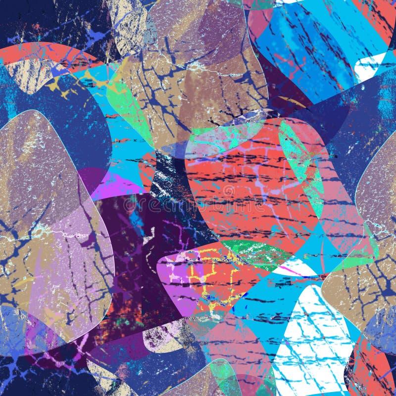 Sömlös grungeabstrakt begreppmodell Flerfärgad bakgrund stock illustrationer
