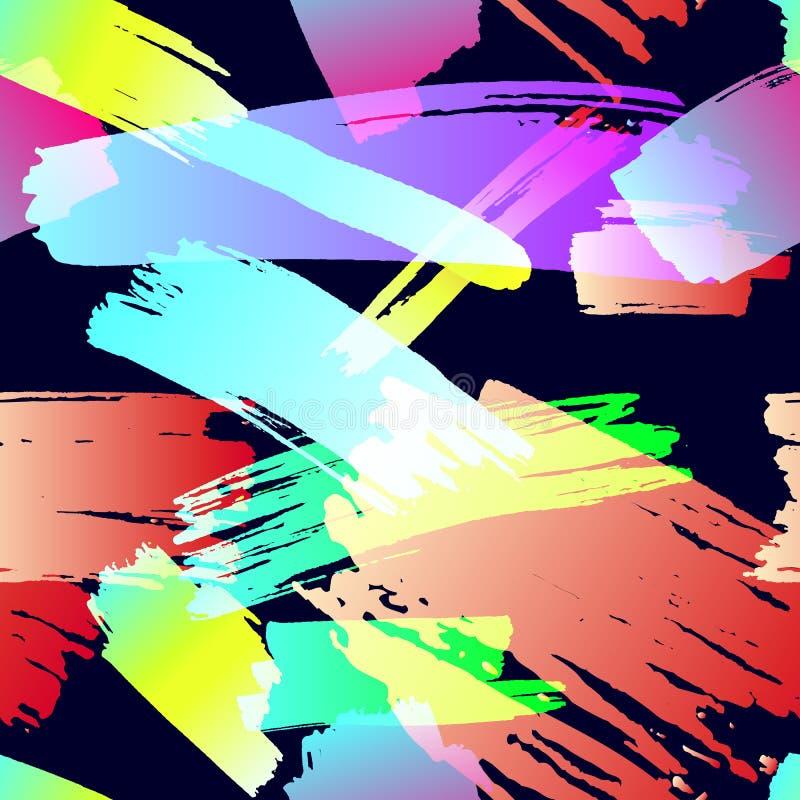 Sömlös Grungemodell för vektor, borsteslaglängder, Grungebakgrund, färgrik illustration, tygtryck vektor illustrationer