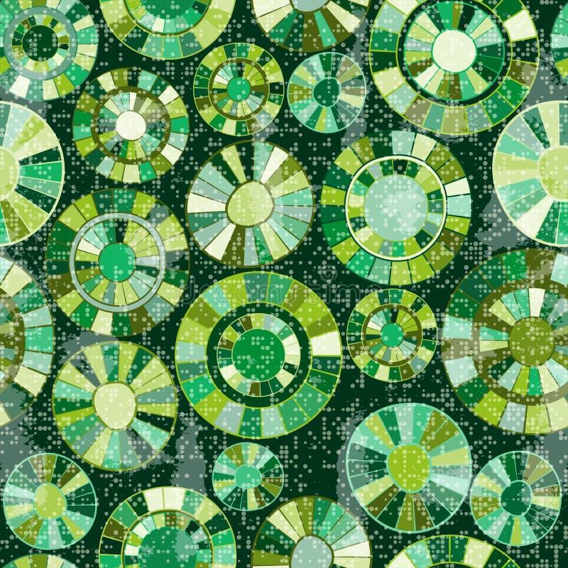Sömlös grungemodell med målade gröna cirklar vektor illustrationer