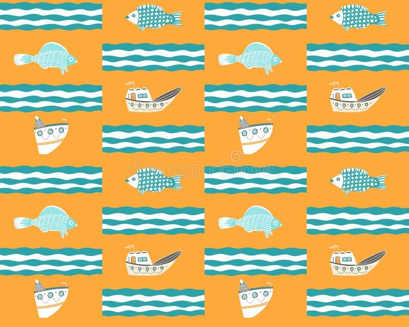 Sömlös gul bakgrund med skepp, fisken och vågor stock illustrationer