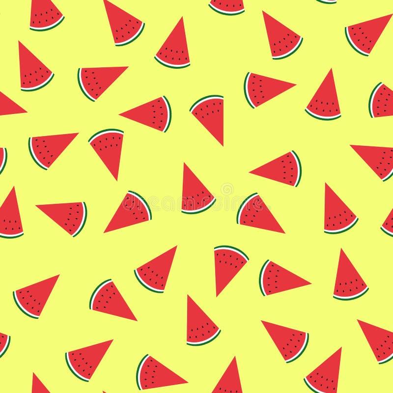 Sömlös gul bakgrund med vattenmelonskivor planl?gg f?r h?lsningkort och inbjudan av s?songsbetonad sommarferie vektor illustrationer