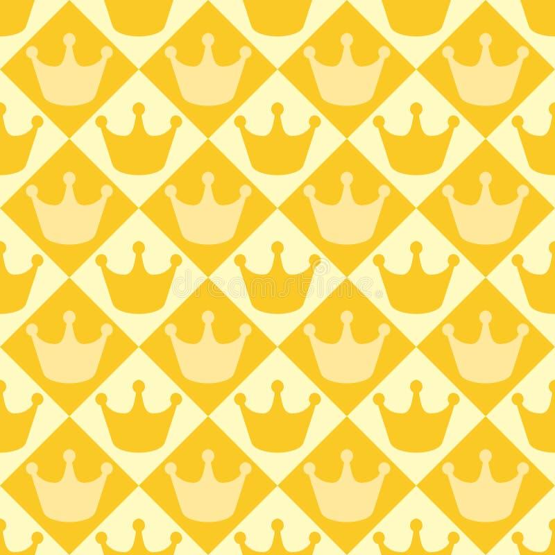Sömlös gul modell för vektor med kronor royaltyfria bilder