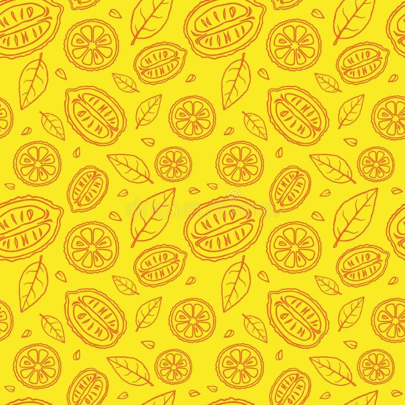 Sömlös gul modell med klotter av skivade röda citroner och sidor arkivfoton