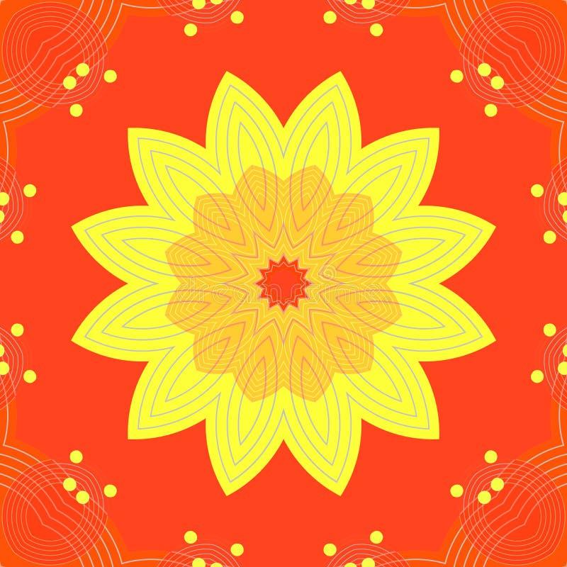 Sömlös gul orange blomning på rött royaltyfri illustrationer