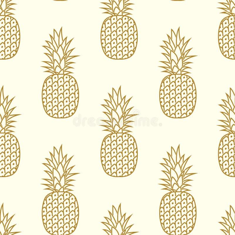Sömlös guld- ananasmodell vektor stock illustrationer