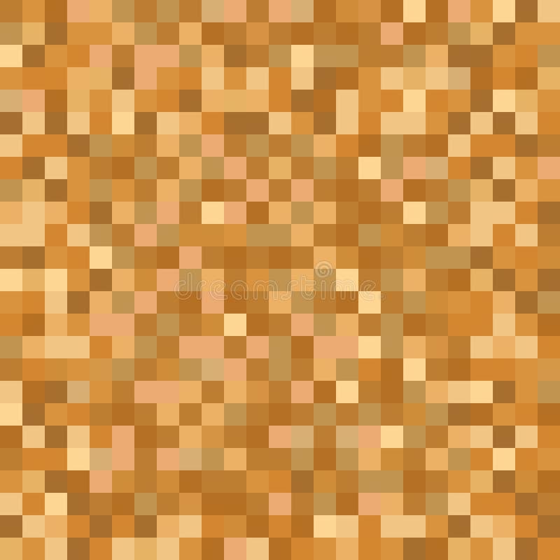 Sömlös guld- brun PIXELmosaikmodell Textur för Pixelated guld- metallabstrakt begrepp som kartlägger bakgrund för olik digital ap stock illustrationer