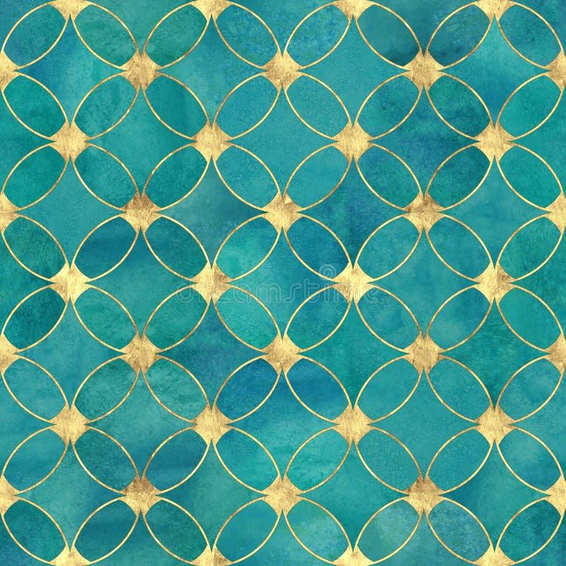 Sömlös guld för akvarellkrickaturkos blänker abstrakt begrepptextur royaltyfri illustrationer