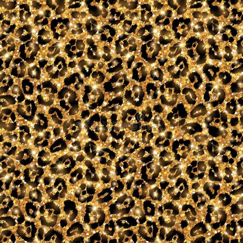 Sömlös guld- leopardmodell Glänsande löst vektor illustrationer