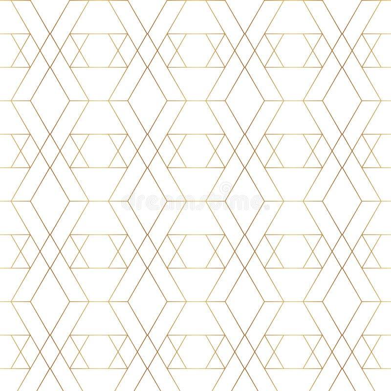 Sömlös guld- linje geometrisk modell Bakgrund med romben, trianglar och knutpunkter guld- textur royaltyfri illustrationer