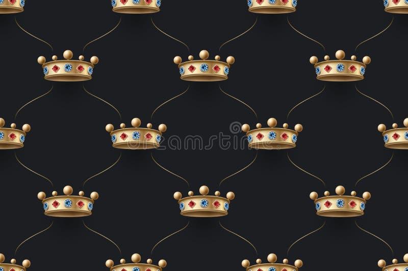 Sömlös guld- modell med konungkronan med diamanten på en bakgrund för mörk svart också vektor för coreldrawillustration stock illustrationer
