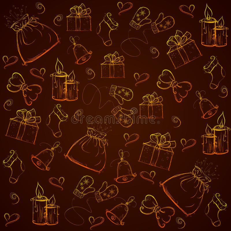 Sömlös guld- modelljul stock illustrationer