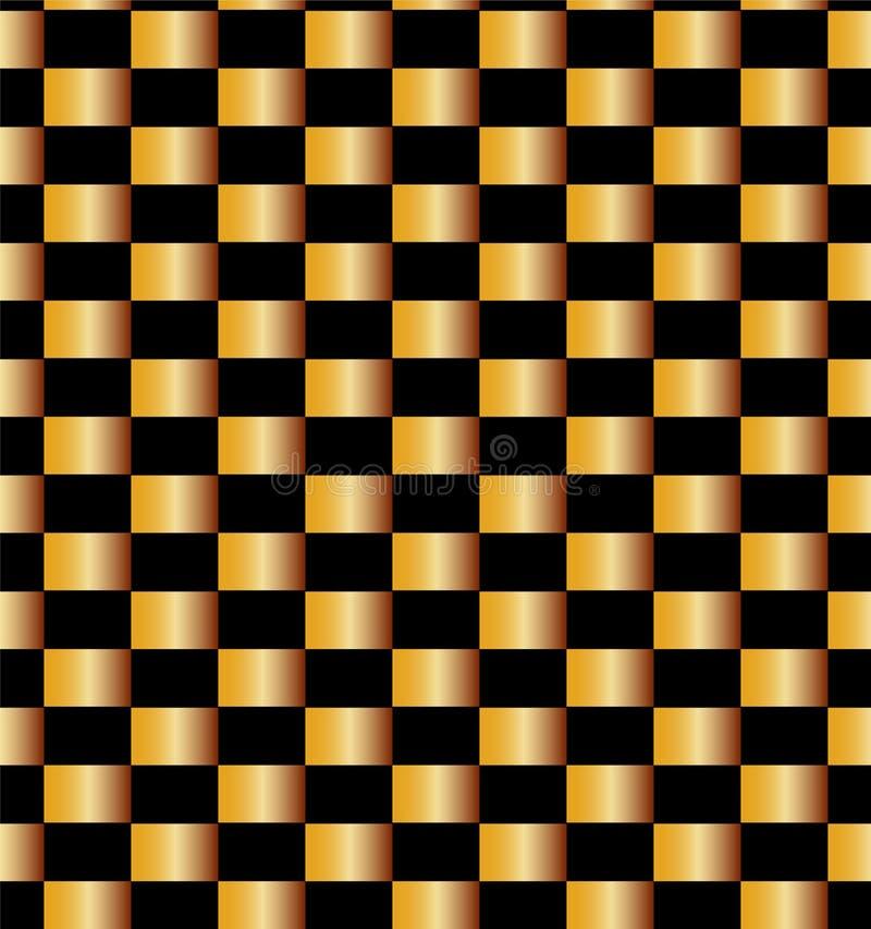 Sömlös guld- tegelstenmodell på svart bakgrund Passande för textil, tyg och att förpacka stock illustrationer