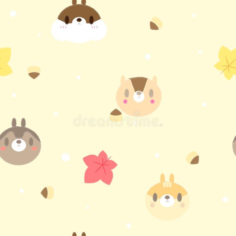 Sömlös gullig djur ekorre för husdjurdjurlivbrunt med lönnlövet och eken i bakgrund för höstsäsongrepetitionmodell royaltyfri illustrationer