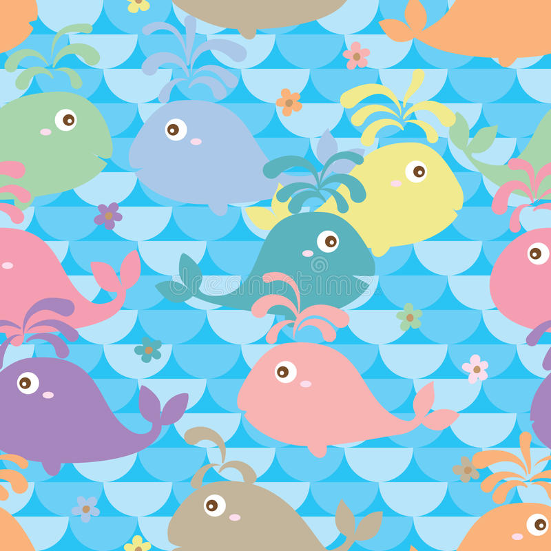 Sömlös gullig färg för val royaltyfri illustrationer