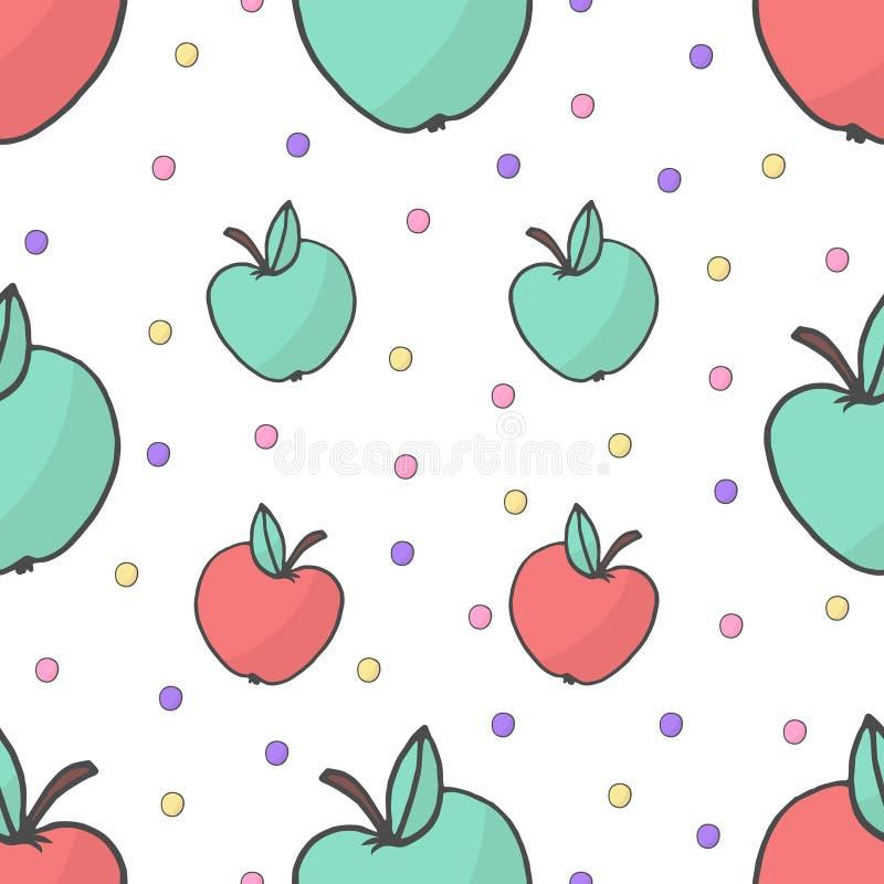 Sömlös gullig färgrik modell med den gula och röda handen drog äpplen på vit bakgrund Klotterdesignstil, vektor vektor illustrationer