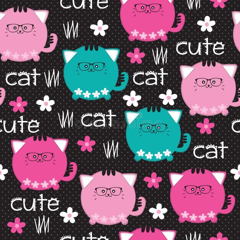 Sömlös gullig illustration för kattmodellvektor vektor illustrationer