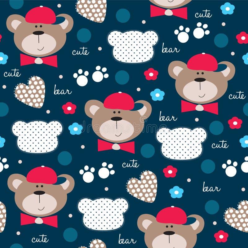 Sömlös gullig illustration för vektor för modell för nallebjörn stock illustrationer