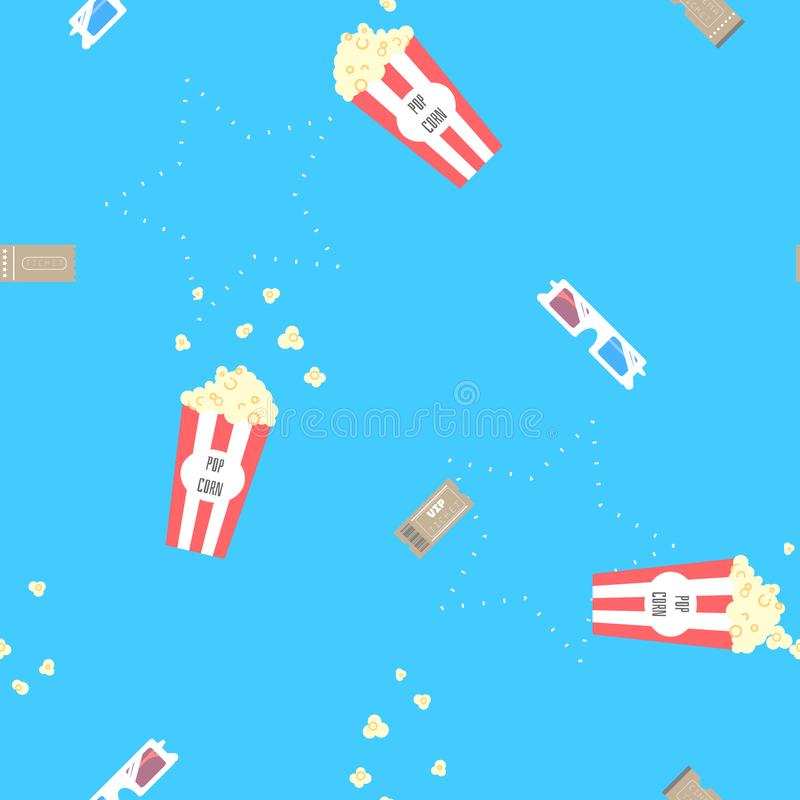 Sömlös gullig minsta biofilm med popcorn, filmbiljetten och för tecknad filmrepetition för exponeringsglas 3d bakgrund för modell vektor illustrationer