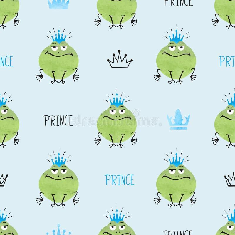 Sömlös gullig modell för prins Frogs royaltyfri illustrationer