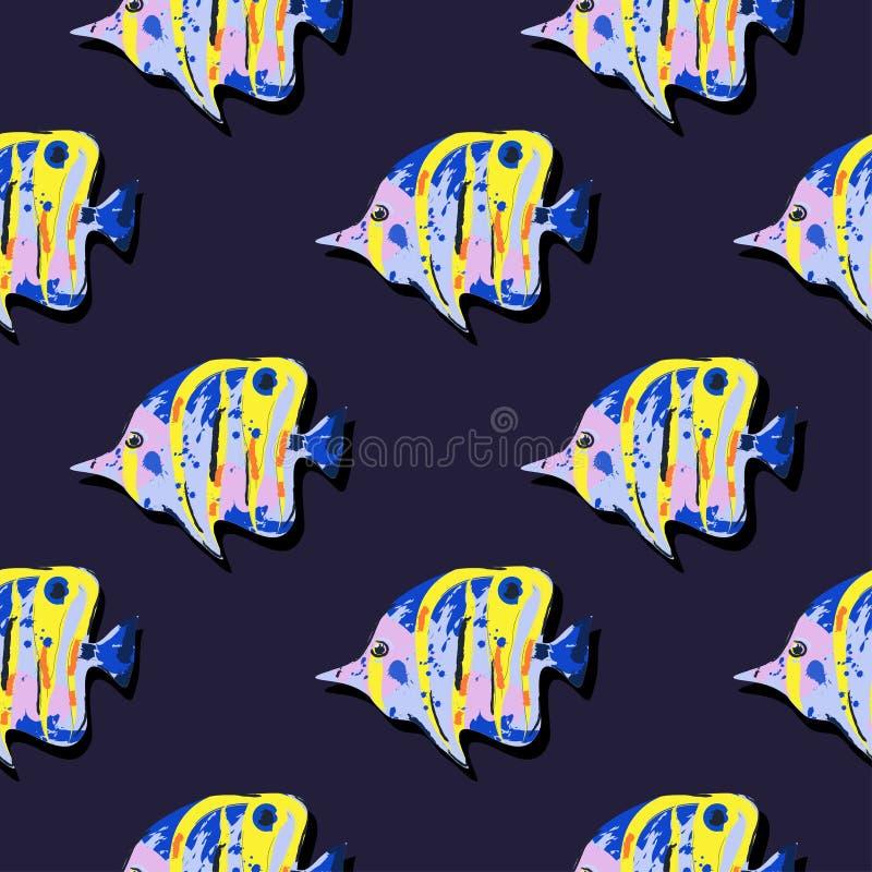 Sömlös gullig modell med den tropiska fisken royaltyfri illustrationer
