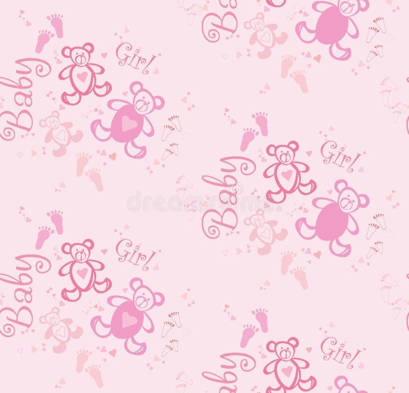 Sömlös gullig rosa bakgrund för flickor med björnar och hjärtor royaltyfri illustrationer