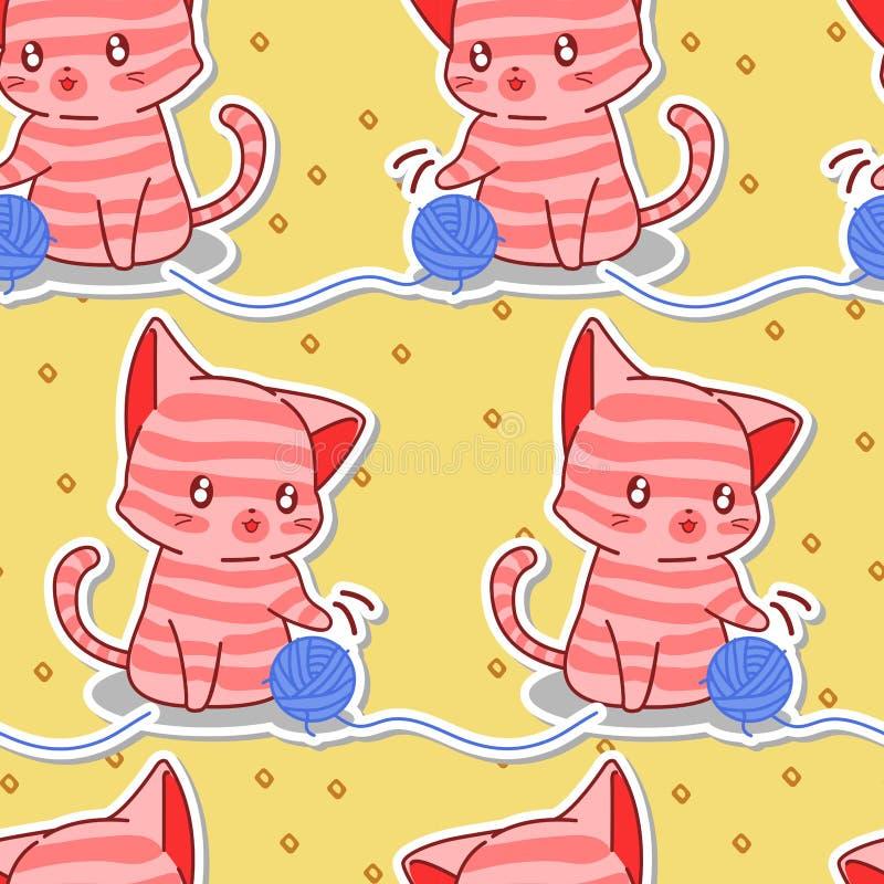 Sömlös gullig rosa katt med den blåa garnmodellen vektor illustrationer