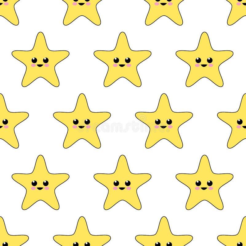 Sömlös gullig stjärnamodell på vit bakgrund stock illustrationer