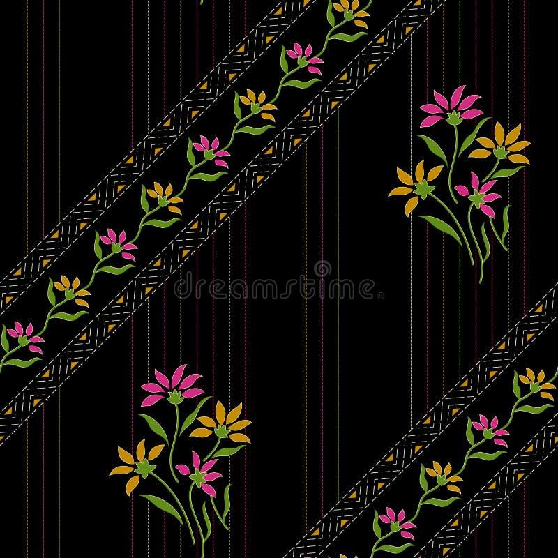 Sömlös härlig blom- design med svart bakgrund stock illustrationer